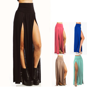 DOUBLE SLIT SEXY HIGH LOW FOLD OVER WAIST STRETCH JERSEY LONG MAXI SKIRT S-L | eBay