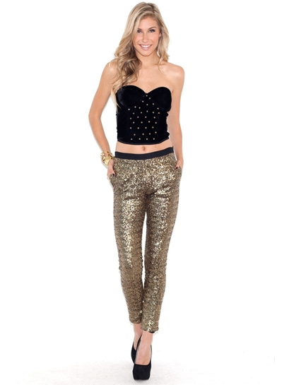 Style Stalker Gold Finger Sequin Pants