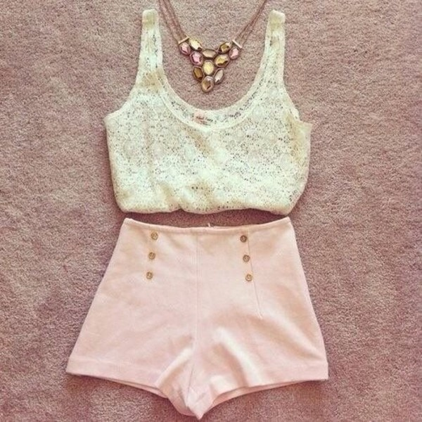 tank top lace cream lace crop top crop tops bralette light pink light pink shorts pink shorts shorts High waisted shorts summer jewels