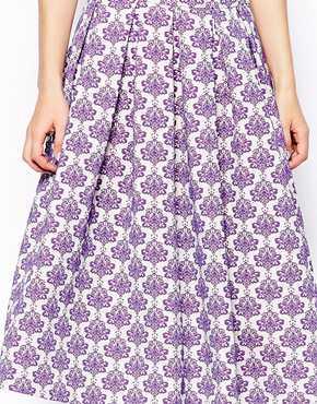 ASOS | ASOS Full Midi Skirt in Baroque Floral Jacquard at ASOS