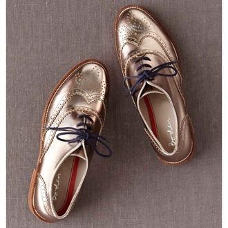 shoes oxfords gold shoes