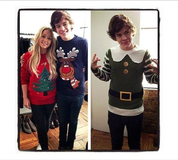 sweater christmas sweater christmas harry styles red sweater cute holiday season deer