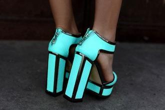 shoes flurescent heel black high heels fluo blue high heels zip zip-up light blue blue pretty tumblr tumblr shoes
