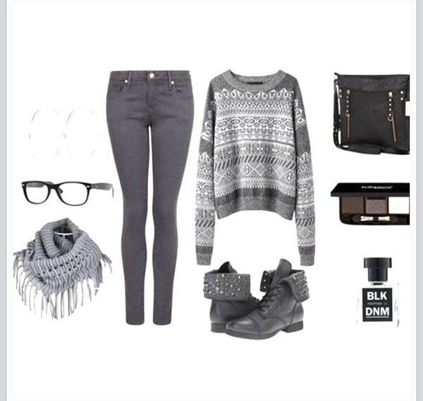 jeans sweater shoes scarf