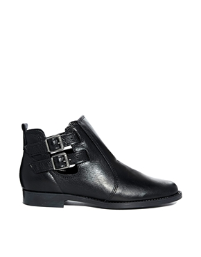 Oasis | Oasis Black Leather Cut Out Ankle Boots at ASOS