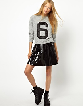 Monki | Monki High Shine Skater Skirt at ASOS