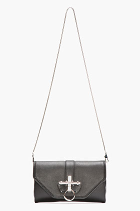Givenchy Black Leather Obsedia Evening Clutch for women   SSENSE
