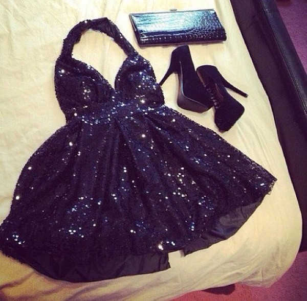dress little black dress black black high heels black prom dress short black dress black sequin dress sequin dress platform shoes short party dresses halter neck dress shoes sparkly dress bag sequins sequins black dress tank dress party party dress