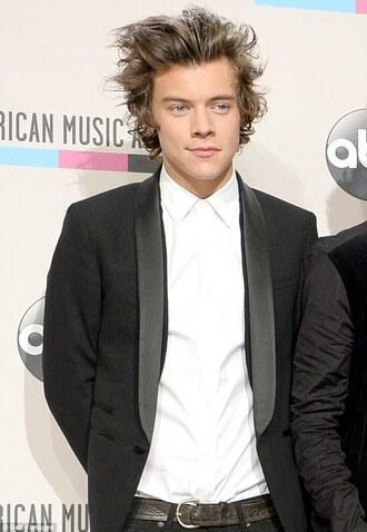 coat harry styles blazer black black blazer amas 2014 one direction harry styles white menswear prom menswear mens blazer