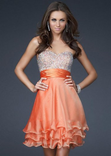 Short Orange Layered Sequin Top La Femme 16541 Prom Dress [La Femme 16541 Orange] - $168.00 : Prom Dresses 2014 Sale, 70% off Dresses for Prom