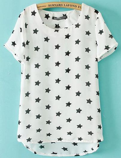 White Short Sleeve Stars Print Dipped Hem T-Shirt