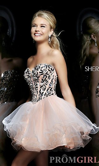 Prom Dresses, Celebrity Dresses, Sexy Evening Gowns - PromGirl: Short Strapless Sweetheart Babydoll Dress