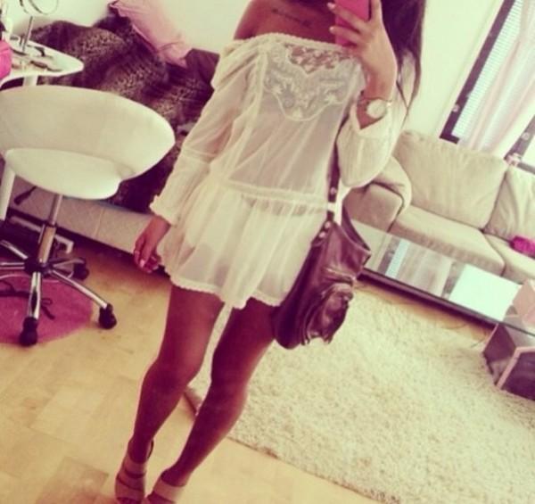 blouse lace tunic tunic dress leather bag hipster bag dress dress beige hot creme