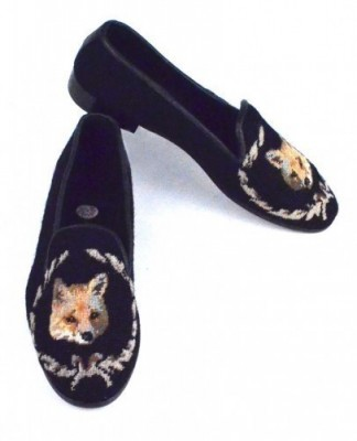 X03369  Fox on Black Needlepoint Loafer- Woman's