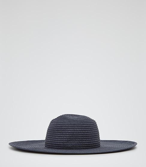 Cora Navy Wide Brim Hat - REISS