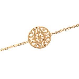 Amazon.com: Ladies 18K Gold Plated Filigree Sun Disc 18 cm Chain Bracelet: Jewelry