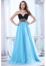 Beaded Decorate Waist Sweetheart Black and Aqua Blue Prom Dress - US$149.68