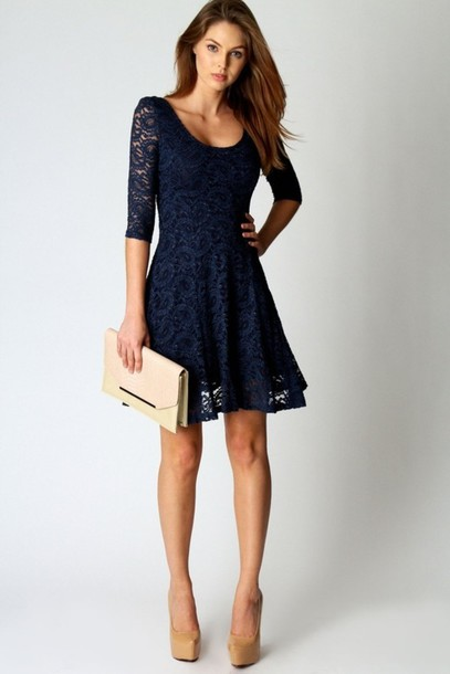 dress blue lace dress navy lace dress lace navy lace dress blue dress navy long sleeves navy dress skater dress sleeves blue lace aline prom dress shorty navy dress casual elegant lace fashion style three-quarter sleeves cute rose wholesale-feb