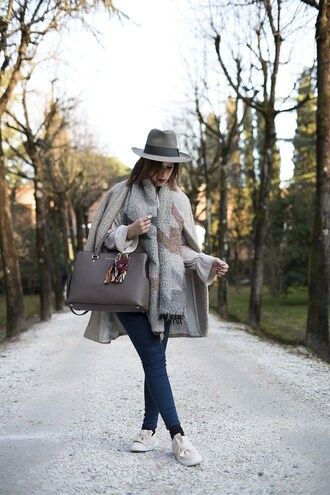 once upon a time blogger sweater jeans shoes bag hat jewels felt hat grey coat handbag winter outfits