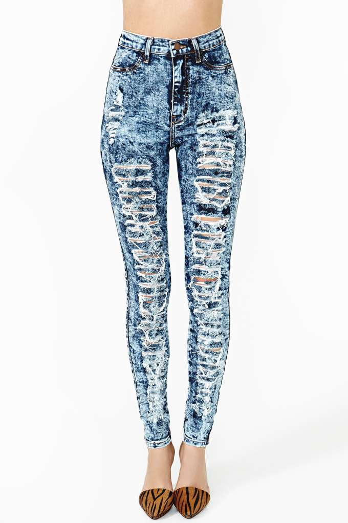 Damage Control Skinny Jeans in  Clothes Bottoms Denim at Nasty Gal