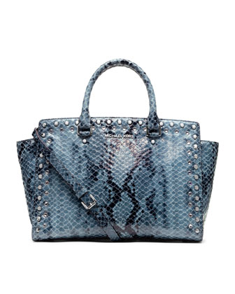 Michael Kors Large Jewel Trim Selma Snake-Print Satchel - Michael Kors