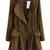Army Green Long Sleeve Epaulet Drawstring Trench Coat - Sheinside.com