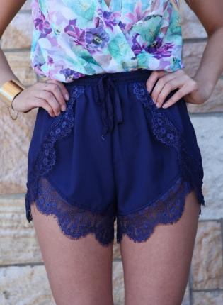 Blue Shorts - Navy Lace Trim Elastic Waist | UsTrendy
