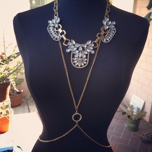 jewels body chain body chain body harness gold body harness body necklace body chain statement necklace statement necklace