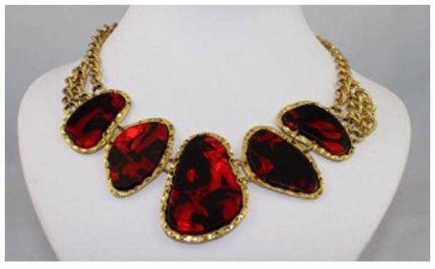 jewels necklace bib necklaces red chain