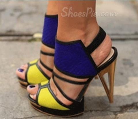 Fashionable Yellow & Blue Contrast Colour High Heel Shoes