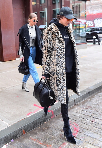 coat animal print fur coat fur bella hadid model off-duty hadid sisters