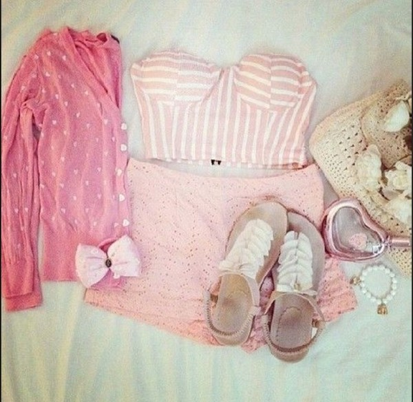 shorts stripes tank top sweater shoes