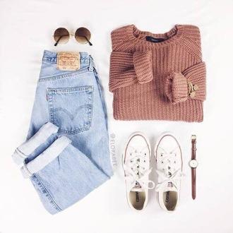 sweater rose saumon gris laine