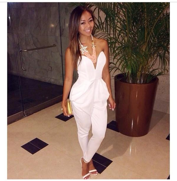 jumpsuit white white jumpsuit