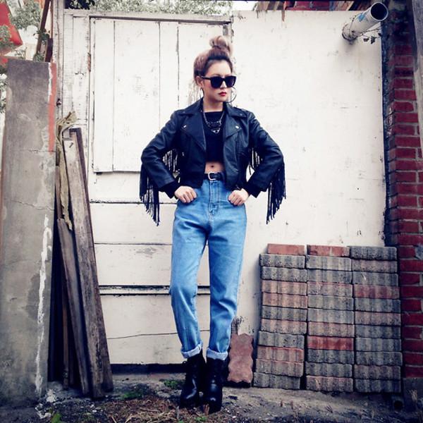 jacket fringes leather