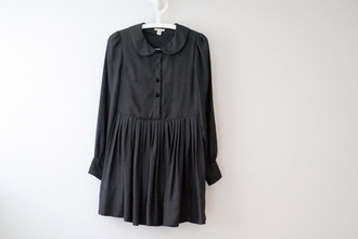 dress short dress long sleeves black dress col claudine
