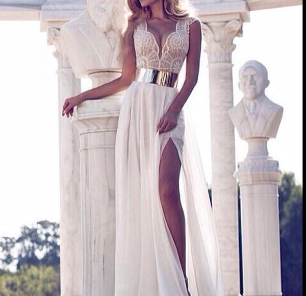 dress white creme beige belt gold robe dentelle dentelle