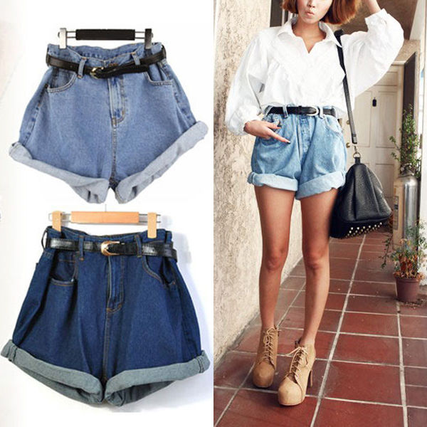 Hot Women Retro Girl High Waisted Oversize Crimping Boyfriend Jeans Shorts Pants | eBay