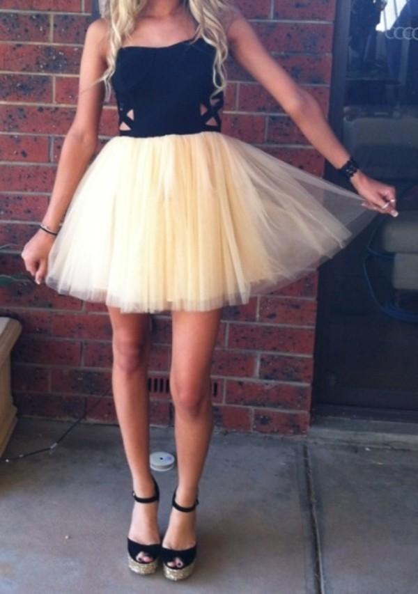 dress tutu tulle skirt black cream sweetheart dress cut-out side panels criss cross shoes