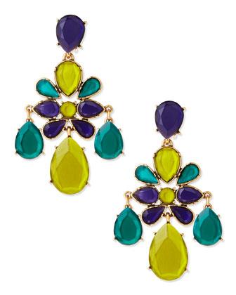 Oscar de la Renta Faceted Chandelier Clip-On Earrings, White - Bergdorf Goodman
