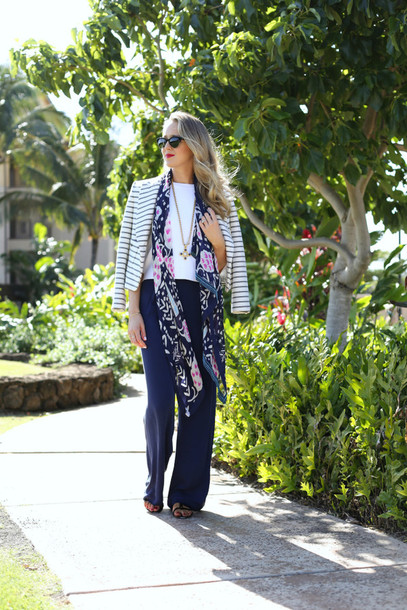 the classy cubicle blogger pants top scarf jacket shoes jewels sunglasses silk scarf