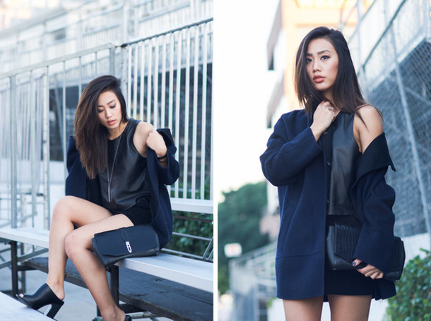 neon blush blogger faux leather navy jacket black top