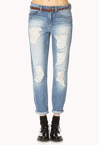 Distressed Boyfriend Jeans w/ Belt   FOREVER21 - 2000140296