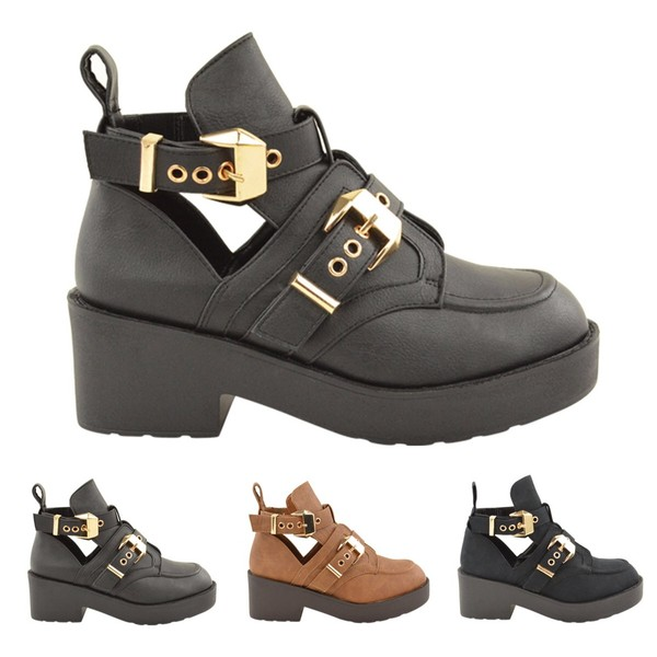 shoes gold black cut out boots hipster