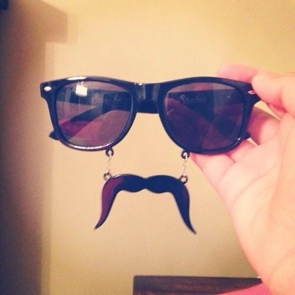 sunglasses glasses black sunglasses hipster moustache