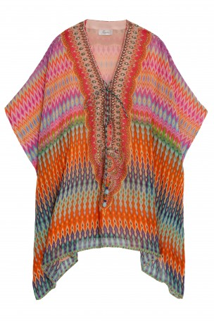 CAMILLA - Multi Short Lace Up Kaftan | Boutique1.com