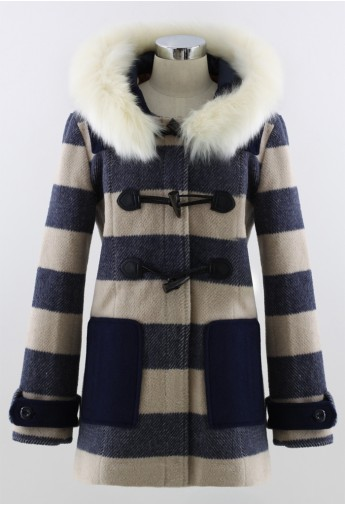 Faux Fur Hooded Navy Duffle Coat - Retro, Indie and Unique Fashion