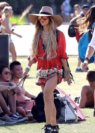 dress vanessa hudgens coachella jewels shoes sunglasses romper jumpsuit red print gypsy gipsyprint coachella dress vannassa hudgens where do i get this play suit from?? music festival vannessa hudgens indie dress bohoo chic hippie dress red dress vanessa hudgens coachella coachella style festival fashion couture style instagram white summer dress summer summer outfits summer holidays