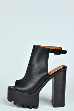 Tash Open Back Platform Heels at boohoo.com