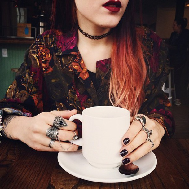 le happy luanna perez vintage floral floral shirt cute pale grunge jacket indie lipstick choker necklace fall colors long hair red hair coffee knuckle ring dark nail polish soft grunge grunge accessory 90s style blogger silver ring
